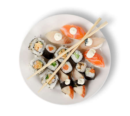 sushi plate: Sushi and rolls