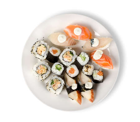 Sushi and rolls in a plate isolated photo