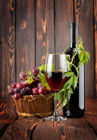 Bottle of wine and grapes Stock Photo - 13910560
