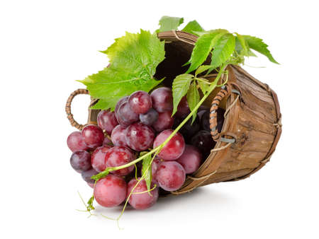 Dark blue grapes in a wooden basket photo