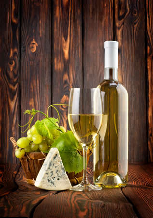 White wine with grapes and blue cheese Stock Photo - 14074995