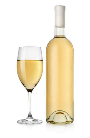 Bottle of white wine and wine glass photo