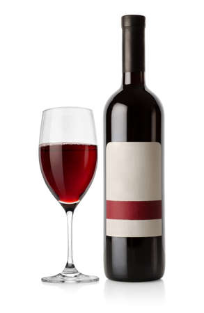 Bottle of red and wineglass Stock Photo - 14074992