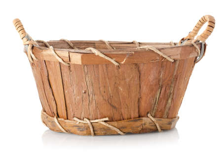 Wooden wattled basket photo