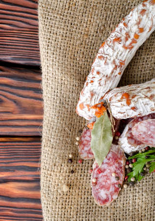 Salami sausage and spices photo