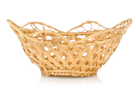 Wooden wattled basket isolated photo