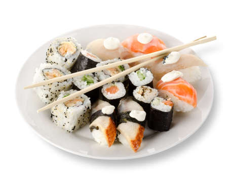 Rolls and sushi in a plate photo