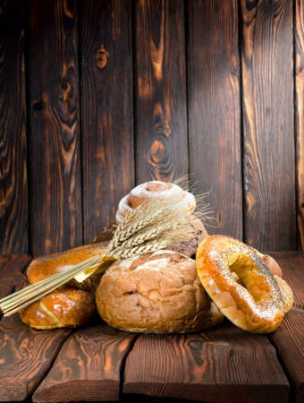 life loaf: Bread on a old wooden boards