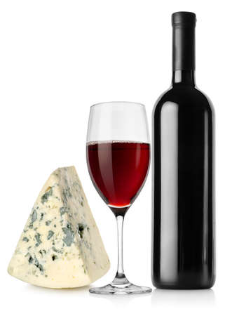 Wine bottle, wineglass and cheese photo