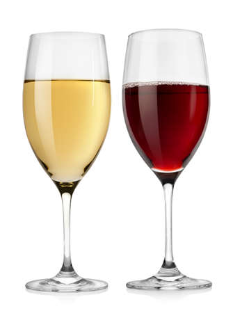 white wine glass: Red wine glass and white wine glass Stock Photo