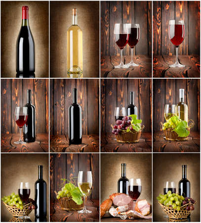 Wine collage on a wooden background and textile background