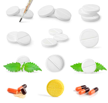 Collage of tablets isolated on a white background photo