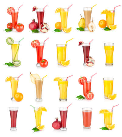 Collage of juices isolated on white background photo