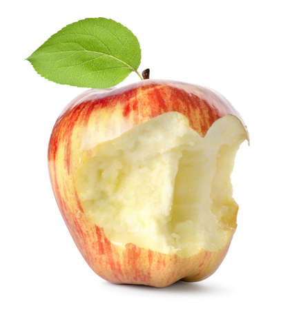 missing bite: Eaten red apple and leaf isolated