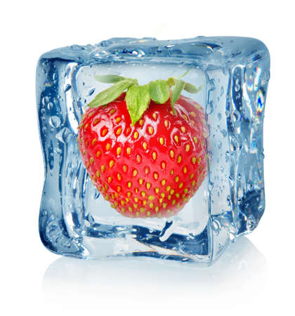 frozen fruit: Ice cube and strawberry Stock Photo