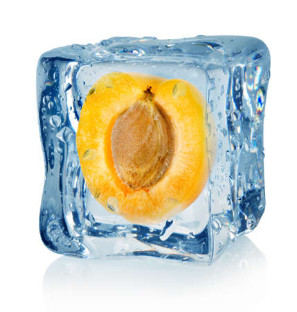 Ice cube and apricot Stock Photo - 16347412