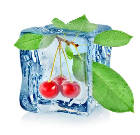 Ice cube and cherry Stock Photo - 16347419
