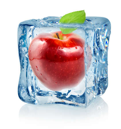 ice water: Ice cube and red apple