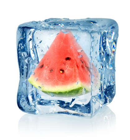 Ice cube and watermelon Stock Photo - 16347416