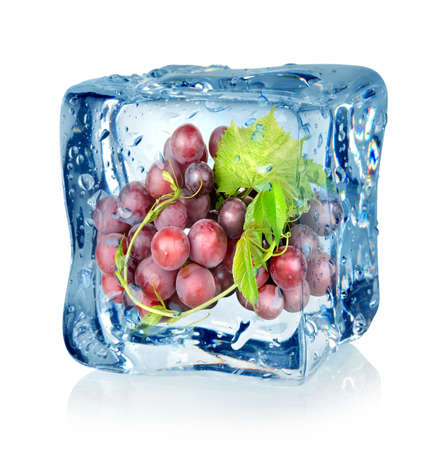 Ice cube and blue grapes