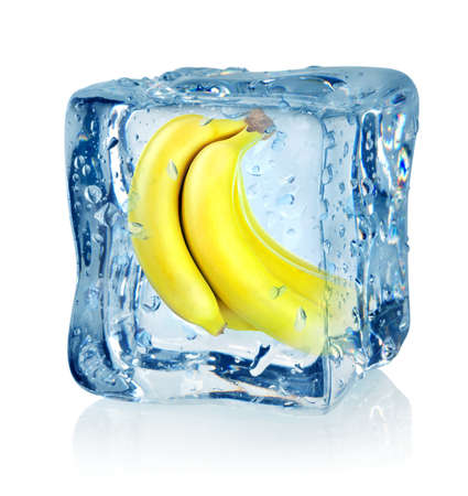 Ice cube and banana Stock Photo - 16347414