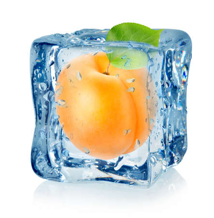 apricot: Ice cube and apricot isolated