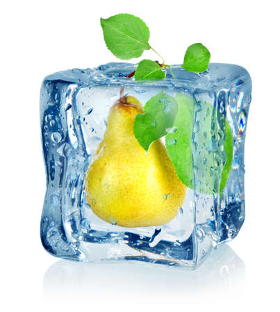 Ice cube and pear Stock Photo