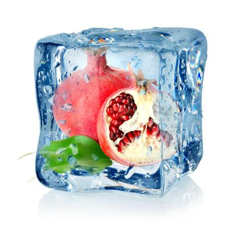 Ice cube and pomegranate Stock Photo - 16347433