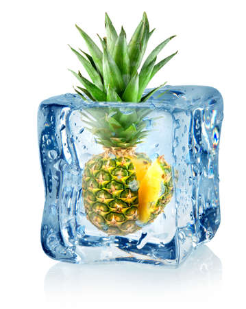 pineapple  glass: Ice cube and pineapple