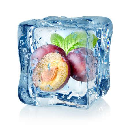Ice cube and plum Stock Photo - 16347435