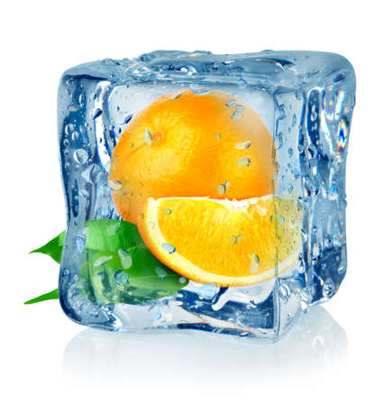 Ice cube and orange Stock Photo - 16347431