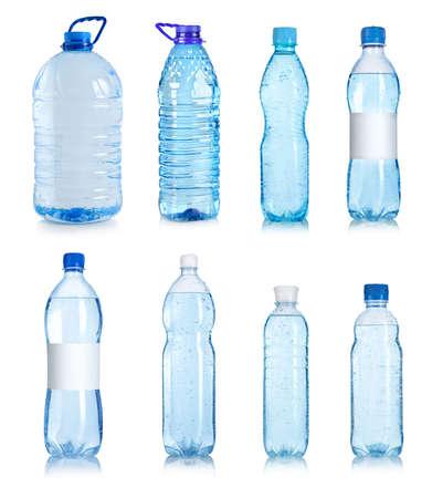 botella de plastico: Collage de botellas de agua Foto de archivo