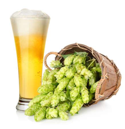 hop hops: Beer and hop in basket