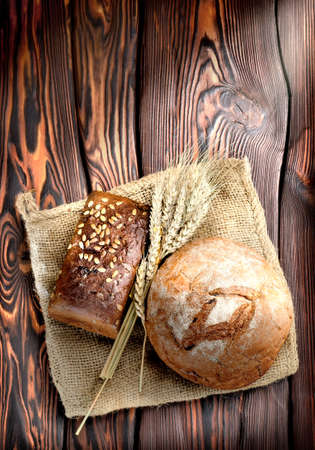 wooden beams: Bakery products and wheat