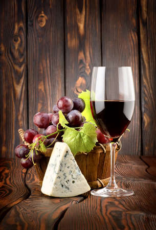 Wine and blue cheese photo