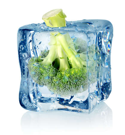 the frozen water: Broccoli in ice Stock Photo