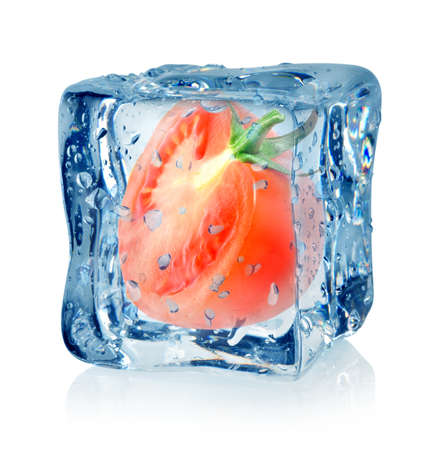 Ice cube and tomato