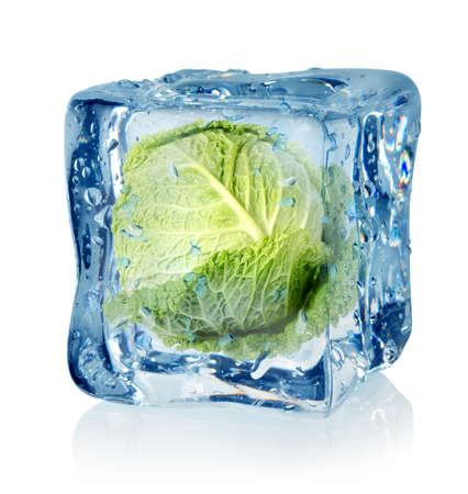 repollo: Cubo de hielo y la col rizada Foto de archivo
