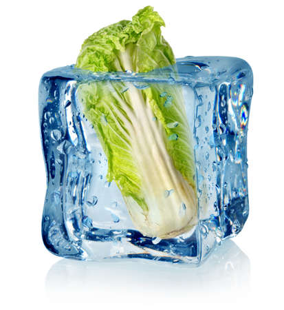 solid food: Ice cube and chinese cabbage