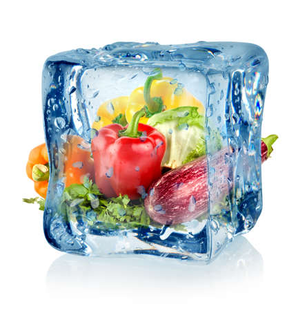 icecube: Ice cube and vegetables Stock Photo