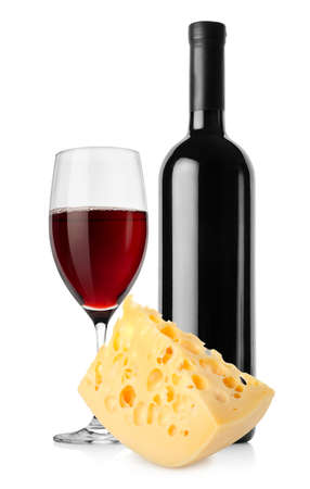 Wine and dutch cheese isolated photo
