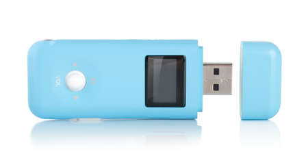 Blue MP3 player isolated photo