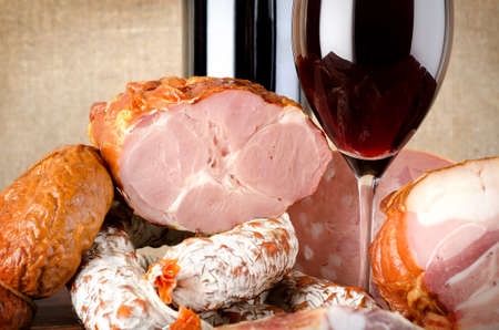 Wine and meat products photo