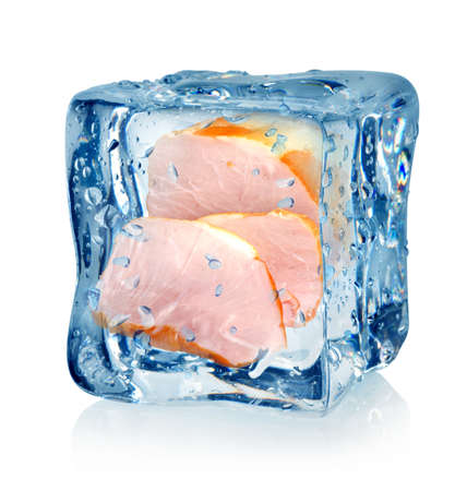 Frozen meat: Ice cube and bacon isolated