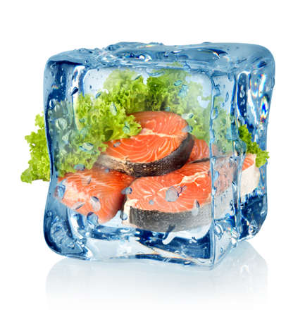 Ice cube and salmon Stock Photo - 16953271