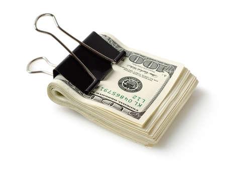 Dollar bills with clip photo