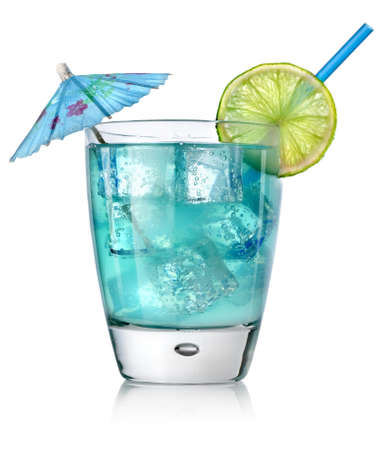 cocktail drinks: Blue cocktail in a glass Stock Photo
