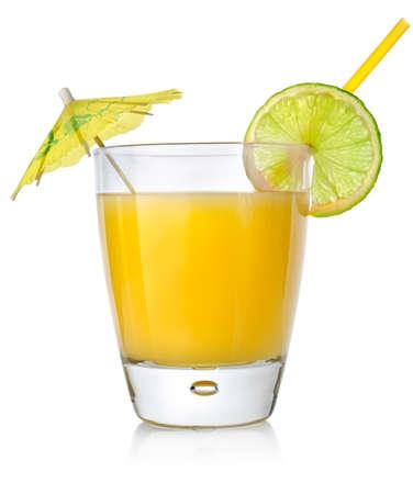yellow umbrella: Orange cocktail in a glass Stock Photo