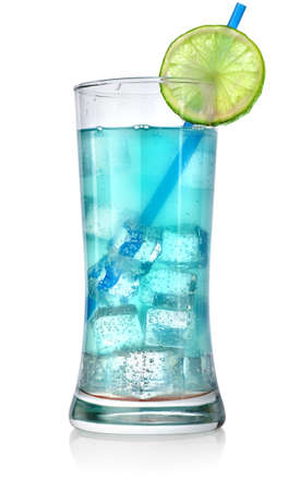 Blue cocktail in a big glass photo