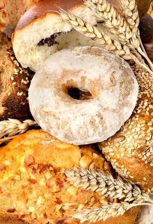 Assortment of fresh breads photo